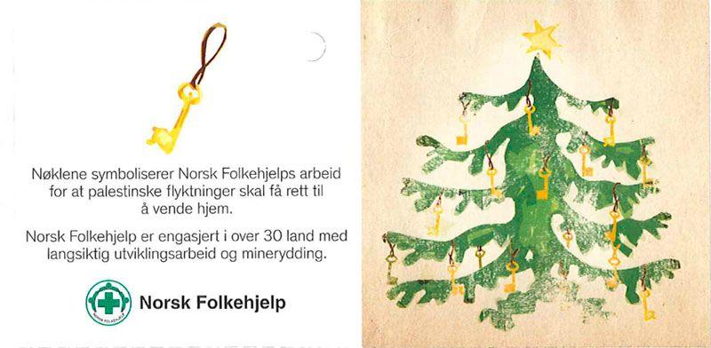 """""""Til og fra""""-lappen som inngår i Norsk Folkehjelps julekampanje. Også her nevnes """"rett til å vende tilbake""""."""