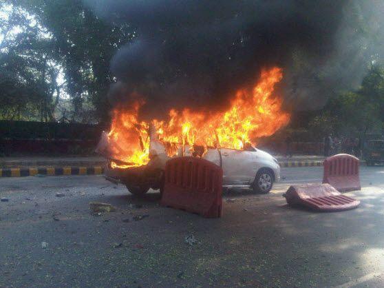 Foto av kjøretøyet som den israelske kvinnen skal ha sittet i. (Foto: Joji Philip Thomas)