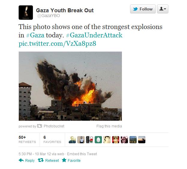 Gaza Youth Break Out publiserte bildet på sin Twitter-profil.