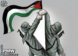 Fatah og Hamas heiser sammen det palestinske flagg. (Foto: Al-Hayat Al-Jabiba)