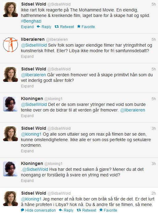 Sidsel Wold skrev på Twitter 12. september 2012.