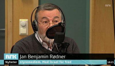 Jan Benjamin Rødner, styremedlem i Med Israel for fred, i Dagsnytt Atten på NRK onsdag 24. oktober 2012. (Skjermdump fra NRK)