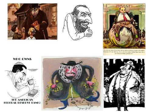 """Tegningein fra barnebibelen har mange likhetstegn med fremstillingen av """"den pengegriske jøden"""" i konspirasjonslitteraturen mot jødene."""