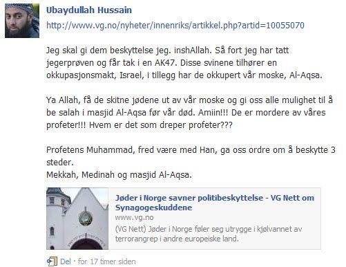 Ubaydullah Hussains Facebook-trussel mot norske jøder.