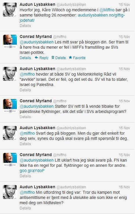 Twitter-samtale mellom Audun Lysbakken (SV) og Conrad Myrland (MIFF) 15. november 2012.