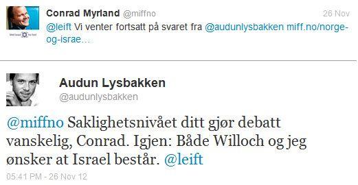 Audun Lysbakken (SV) skriver på Twitter at han ønsker at Israel skal bestå.