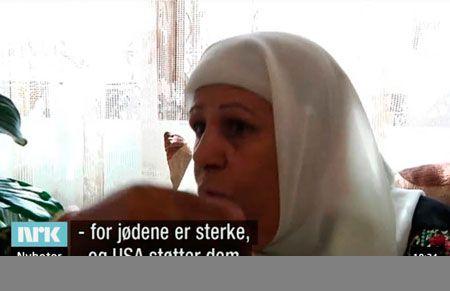 Malika Abu Akkar til NRK Dagsrevyen søndag 11. november 2012. (Skjermdump fra NRK)