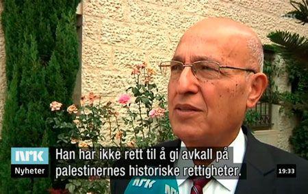 """Nabil Shaath, rådgiver til PA-president Mahmoud Abbas, slår fast at kravet om """"rett til å vende tilbake"""" står fast. Ingen andre flyktninggrupper har fått en slik kollektiv """"rett"""". (Skjermdump fra NRK)"""