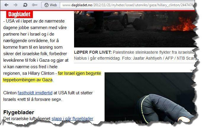 Skjermdump fra Dagbladet.no onsdag 21. november 2012.