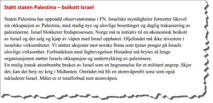 Faksmile av hele LOs begrunnelse for Israel-boikott.