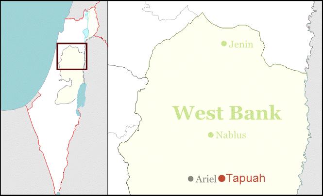 Tabuah veikryss på et kart over nordlige deler av Vestbredden. (Foto: Wikipedia)
