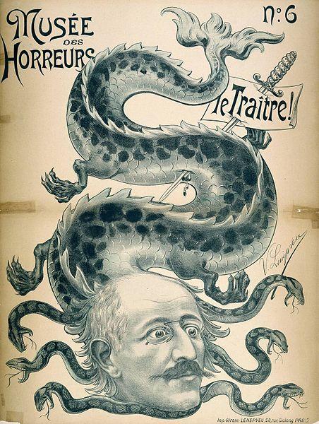 Jøden Dreyfus blir framstilt som en slange i en tegning fra Frankrike i 1900.