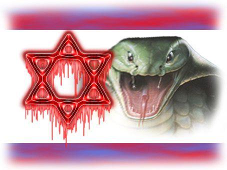 Det jødiske symbolet davidsstjernen og Israels flagg blir fremstilt blodig og sammen med en giftig slange, fra det iranske nettstedet Javan 24. august 2012.
