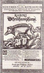 Jøder som patter på en sau er et tradisjonelt motiv i klassisk europeisk antisemittisme, som er fra Wittenberg i Tyskland 1596.