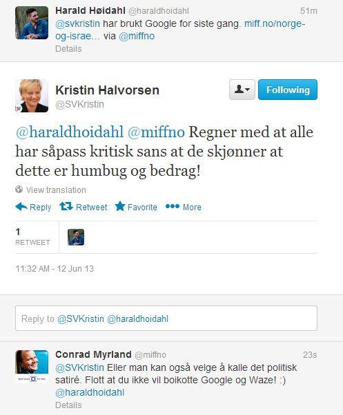 Skjermdump fra Twitter-samtale mellom kunnskapsminister Kristin Halvorsen og Conrad Myrland, daglig leder i MIFF.