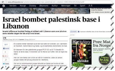 Aftenpostens andre overskrift gjorde det klarere at angrepet var rettet mot et militært mål.