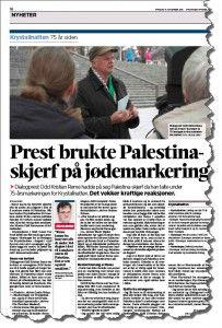 MIFFs kritikk av Odd Kristian Remes skjerf har fått en helside i dagens utgave av Stavanger Aftenblad. (Faksmile SA 11. november 2013)