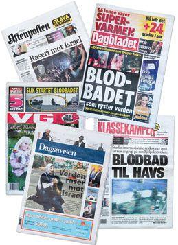 Forsiden på norske aviser 1. juni 2010, etter at israelske marinestyrker hadde bordet Mavi Marmara.