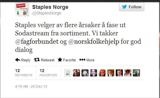 Skjermdump av Twitter-meldingen til Staples.