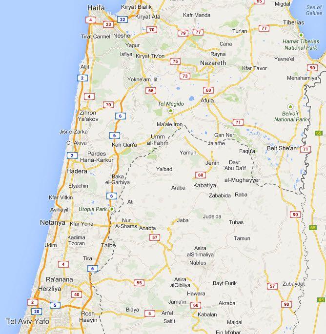 """Mellom hovedveien Rute 6 og """"den grønne linjen"""" mellom Israel og Vestbredden (stiplet linje) ligger det flere større arabiske byer som Lieberman vil gjøre del av en palestinsk stat. (Kart: Google Maps)"""