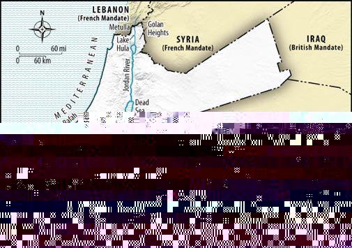 De første kartene for det britiske mandatområdet Palestina inkludert også det som i dag er staten Jordan.