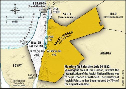Senere ble jødisk innvandring til Trans-Jordan ulovlig, og det var bare området vest for Jordan-elven som gjenstod da Folkeforbundet enstemmig ba Storbritannia legge til rette for å gjøre området til et jødisk hjemland.