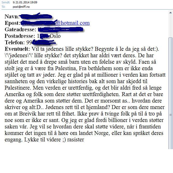 Denne innsenderen sendte oss en hilsen gjennom MIFFs kontaktskjema, hvor man har har mulighet for å skrive anonymt. Men personen som drømmer om en gang da Norge vil forsvinne, skriver med fullt navn og oppgir en e-post adresse som indikerer at hun er i slutten av tenårene.