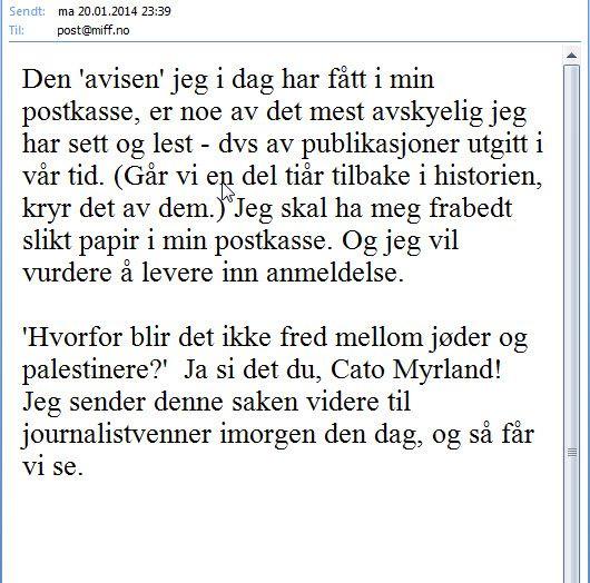 Her er en annen Oslo-kvinne som skriver til oss fra sin e-post.