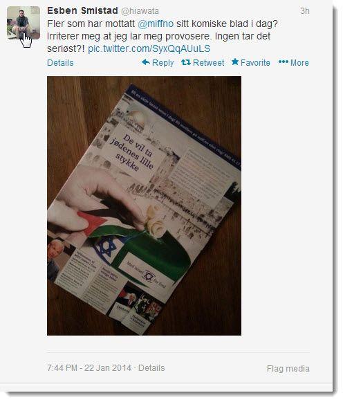 Esben Smistad skriver på Twitter at han er aktiv i Fagbevegelsen. Onsdag 22. januar valgte han å kommentere MIFFs magasin på Twitter.