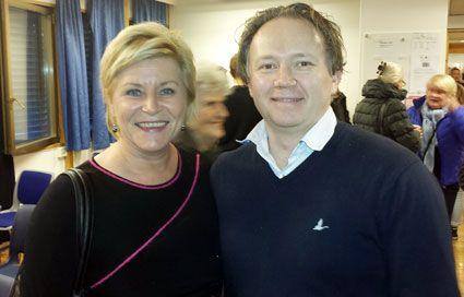 Finansminister Siv Jensen sammen med Tom Morgen Aasen fra MIFF Trondheim. (Foto: Privat)
