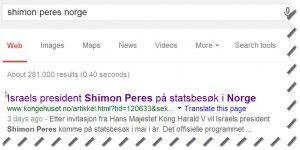 Skjermdump fra Google.no fredag 11. april 2014.