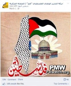Skjermdump fra Fatahs Facebook-side 1. mars 2014.