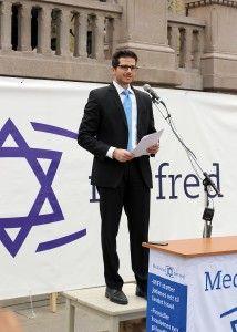 George Deek taler på MIFFs støttemarkering for Israel i Oslo 10. august 2014.