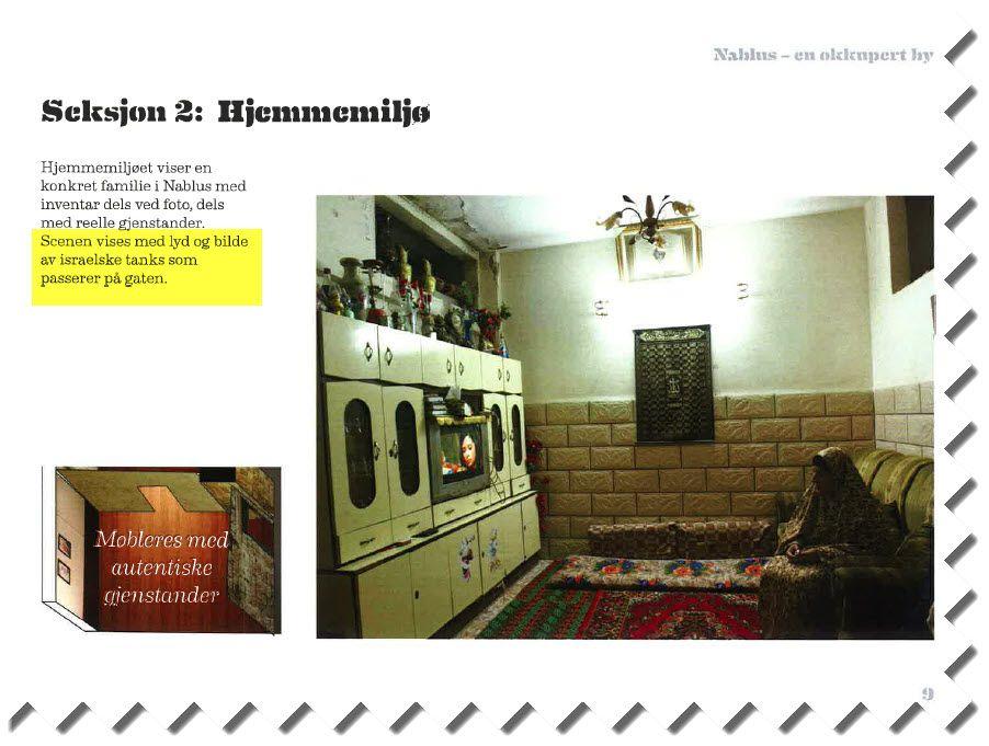 """Faksmile av side 9 i forprosjektet til """"Nablus - en okkupert by""""."""