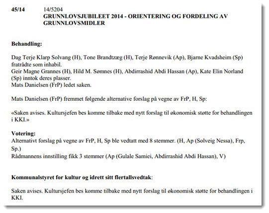 Faksmile av protokollen til kommunalstyret.