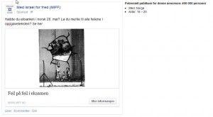 Eksempel på MIFFs Facebook-annonsen og den aktuelle målgruppen.
