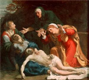I Carracis maleri fra 1606 sørger kvinnene over den døde Jesus.