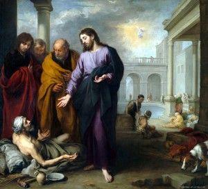 I Murillos maleri fra 1670 helbreder Jesus den syke ved Betesda-dammen.
