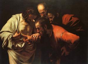 Originalen av Caravaggios maleri av Thomas og Jesus fra 1602.