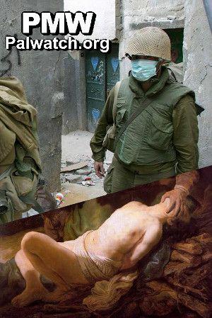 Palestinske myndigheter domineres av muslimer som tror at Abraham ofret Ishmael og ikke Isak. Likevel har også dette bildet blitt manipulert. Her er det en israelsk soldat som har gått inn i Abrahams sted.