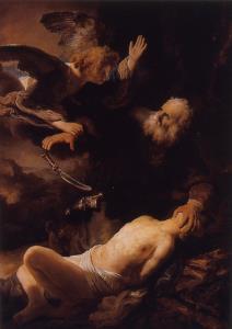 Rembrandt malte ofringen av Isak i 1635.