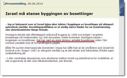 Skjermdump av Utenriksdepartementets pressemelding 6. juni 2014.