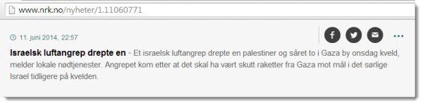 NRKs versjon av hendelsen. Skjermdump fra Nrk.no 12. juni 2014.