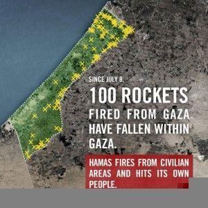 IDFs oversikt viser hvor terror-raketter fra Hamas har falt ned på Gaza-stripen.