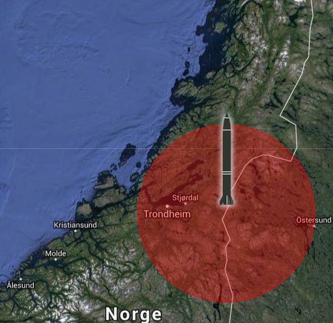 Kartet viser hvordan Trøndelag ville vært truet av M-302 raketter avfyrt fra Storlien i Sverige.