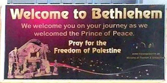 Plakat som hilste paven velkommen ga inntrykk av at palestinere levde i den jødiske landsbyen Betlehem for to tusen år siden.