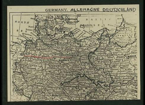 Ruten som fotografen kjørte fra Holland til Berlin. (Foto: National Library)