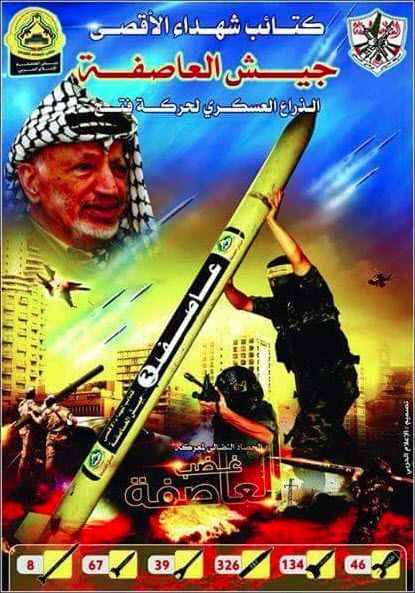 "Arabisk tekst: ""Al-Aqsa Martyrbirgader: Stormens hærstyrker, Fatahs militære fløy. Stormens sinne."""