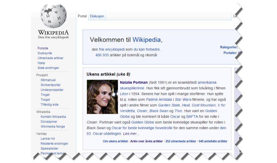 Skjermdump fra Wikipedia 19. februar 2015.