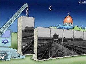 """Denne tegningen vant prisen for """"smarteste Holocaust-karikatur"""" i Iran i 2006."""